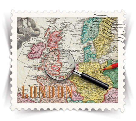 ramble: Label for London tourist products advertisements stylized as vintage post stamp Stock Photo