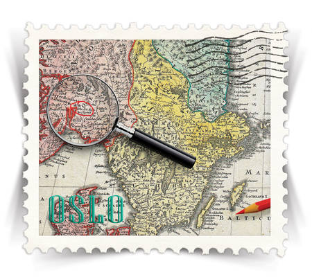 オスロ観光製品広告用ラベル様式として郵便スタンプ