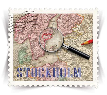 ストックホルム観光製品広告のラベル様式としてヴィンテージ切手切手 写真素材