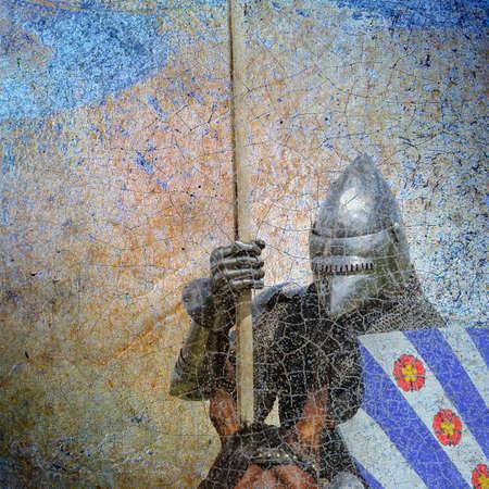 Armored knight on warhorse - retro postcard on vintage background Stock Photo