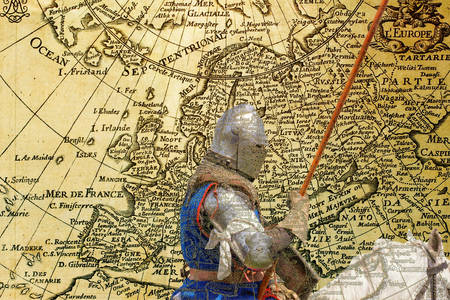 mediaeval: Armored knight on warhorse - retro postcard on vintage map background Stock Photo