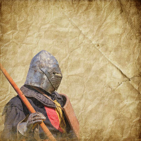 mediaeval: Armored knight - retro postcard on vintage paper background Stock Photo