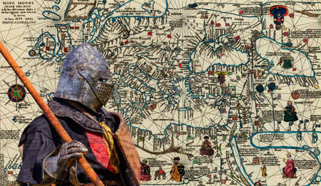 Armored knight - retro postcard on vintage map background