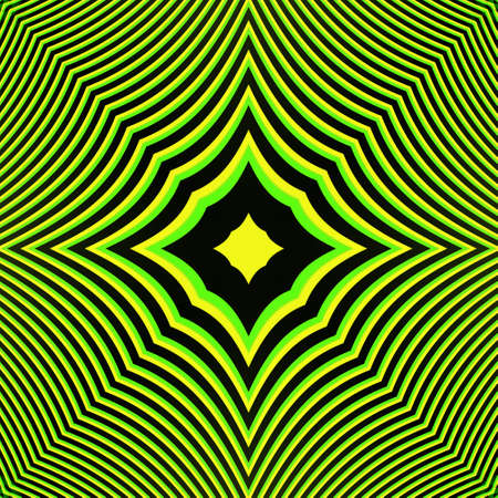 epicentre: An abstract green and yellow contrast pattern with hypnotic effect on black background