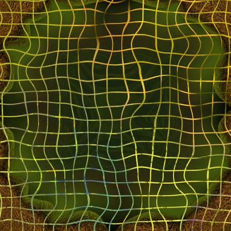 distorted: An abstract orange distorted grid on green, brown and black background