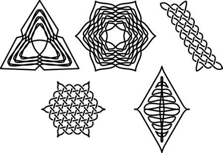 celt: A set of ornate hexagonal black patterns