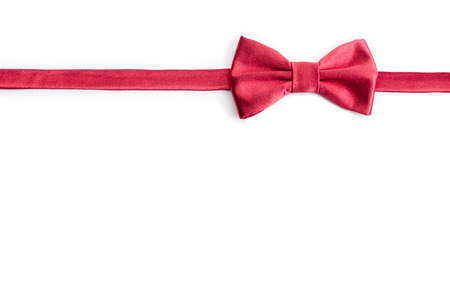 Red bow tie isolated on white background with clipping path