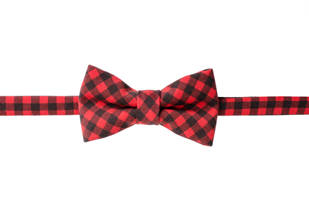 Plaid bow tie isolated on white background