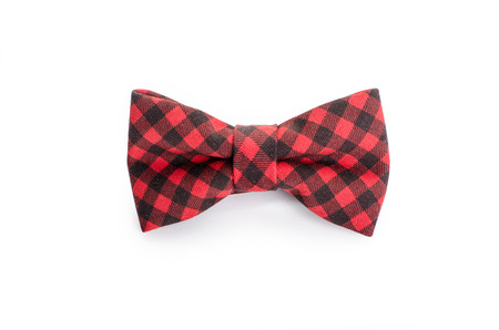 silk tie: Plaid bow tie close up on white isolated on white background