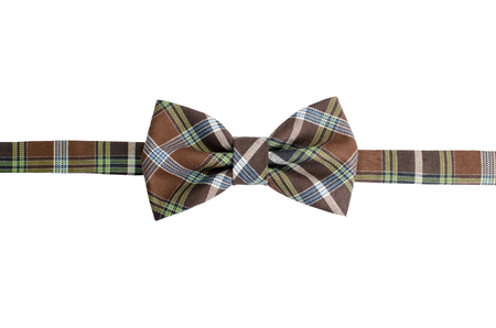 Plaid bow tie isolated on white background with clipping path