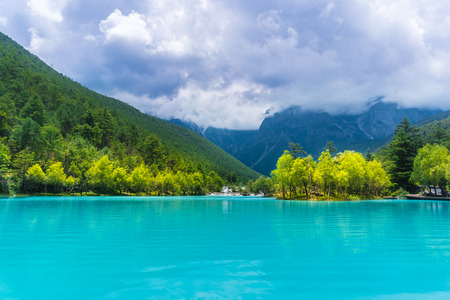 Blue Green White River calm of the lake Stock Photo