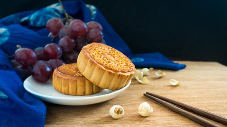mooncake with grapes Stock Photo