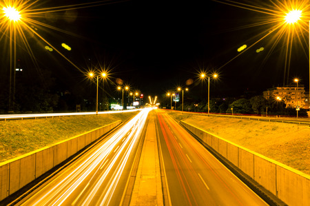 Zagreb highway by night. Long exposure photography Stock Photo