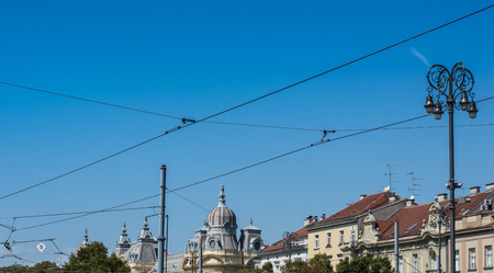 View on rooftops and skyline from main train station in Zagreb. Stock Photo