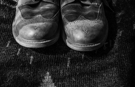 Monochrome photography of a hiking boots
