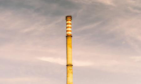 Industrial chimney with polutted air
