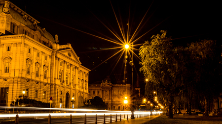 Croatian National Theatre at night. Long exposure photography