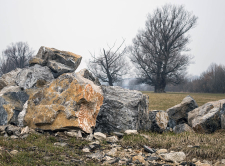 Pile of rock near river Sava in Zagreb Imagens