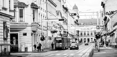 Electrical trolley in Frankopanska street, Zagreb. In monochrome