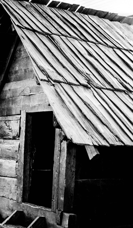 Old wooden cabin monochrome photography Stock Photo
