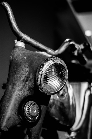 Vintage motocycle close up monochrome