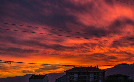 Weird red sky in sunset over Rijeka