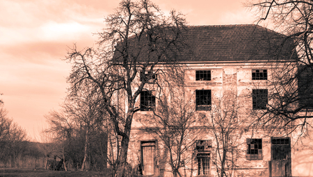 Old house in city of Pakrac in monocrome