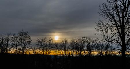 Sun on the horizont above city of Pakrac