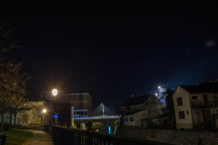 Night photography at city of Pakrac. View on river Pakra. Stock Photo