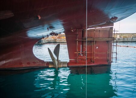 Ship stern with a propeller
