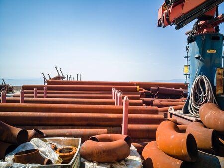 Rusty pipes shipyard