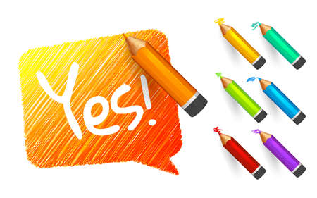 Banner paint with pencils. Hand drawn orange speech bubble with doodles, set of colorful crayons and written short message. Sketch cloud and quote, lines stroke and scribble