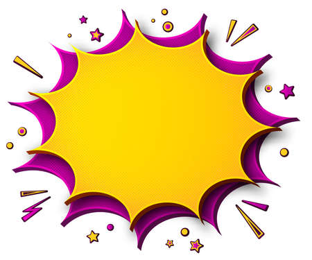 Comics background. Cartoon poster in pop art style with purple- yellow speech bubbles with halftone and sound effects. Funny colorful banner with place for text on white backdrop
