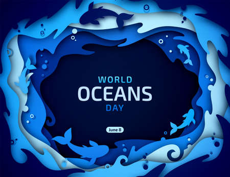 World Oceans Day, paper art. Global celebrate dedicated to protect and conserve purity of water, problem of plastic pollution of nature, ecosystem, ecology of planet. Origami of sea waves, fishes