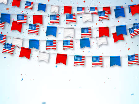 Garlands of bunting USA flags. Decorative patriotic symbols for national holidays in United States of America. Vector banner for celebrate Independence, labor, patriot day. Vector illustration