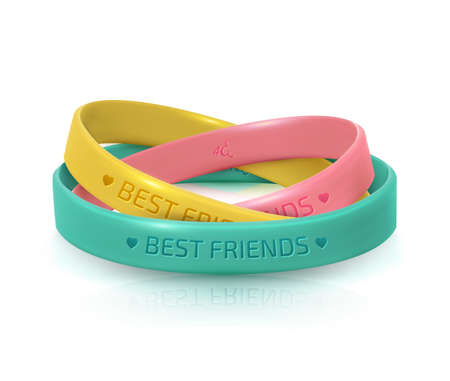 Friendship Day greeting card, happy holiday of amity. Three rubber bracelets for best friends yellow, pink and turquoise. Silicone wristbands on white background. Vector illustration