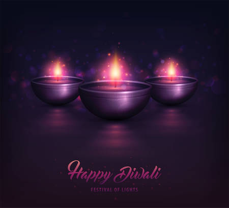 Happy Diwali, festival poster. Creative Lamps with decorative ornament and burning diya. Shiny purple colorful background with illuminated oil lamps for Diwali celebration, beautiful candles