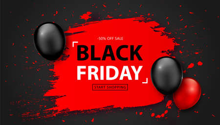 Black Friday Sale Poster. Seasonal discount banner with balloons and pink grunge frame on black background. Holiday design template for advertising shopping, closeout on thanksgiving day Illustration