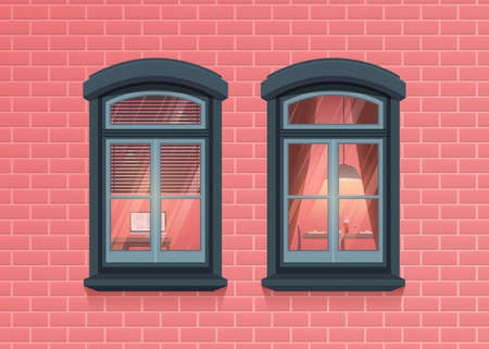 Two windows frames view on house pink brick wall. Highly detailed windows with apartment interior. Architecture design in cartoon and flat style. Outdoor or exterior view of the building and home