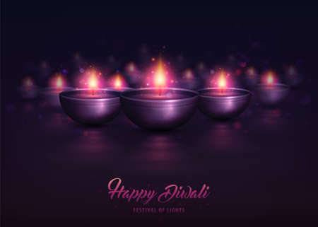 Happy Diwali, festival poster. Creative Lamps with decorative ornament and burning diya. Shiny purple colorful background with illuminated oil lamps for Diwali celebration, beautiful candles Zdjęcie Seryjne - 130887060