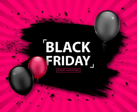 Black Friday Sale Poster. Seasonal discount banner with pink and black balloons, grunge black frame on pink background. Holiday design template for advertising shopping, closeout on thanksgiving day Illustration