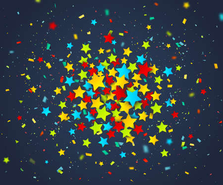 Colorful confetti of stars and particles scattering randomly. Dark background with explosion colorful stars. Holiday design template can be used for greeting card, carnival, celebration or festive