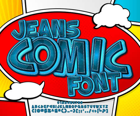 Blue denim font on comic book page. Alphabet in style of comics, pop art. Cartoon jeans multilayer letters and figures for decoration of kids illustrations, game design, comics, banners