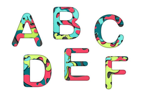 Set of letters font a, b, c, d, e, f. Multilayer colorful letters. Paper art carving. Creative typography characters.
