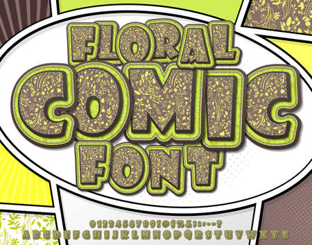 Floral font with herbal ornament. Spring flower alphabet in style of comics, pop art style. Green-brown Cartoon multilayer letters and figures for of kids illustrations, art design, comics, banners