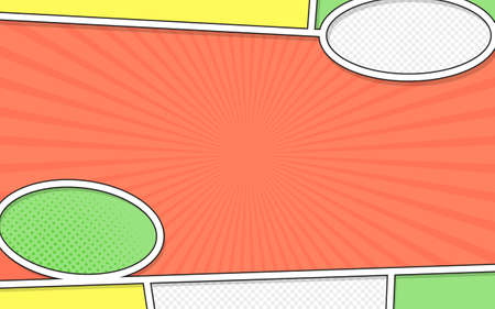 Vector mock-up of a typical comic book page. Pop art style. Colorful vector illustration. Bright cartoon comics Stock Illustratie