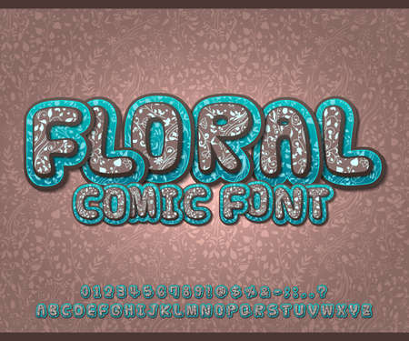 Floral font with herbal ornament. Spring flower alphabet in style of comics, pop art style. Blue-brown Cartoon multilayer letters and figures for of kids illustrations, art design, comics, banners.