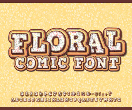 Floral font with herbal ornament. Spring flower alphabet in style of comics, pop art style. Cartoon multilayer letters and figures for decoration of kids illustrations, art design, comics, banners.