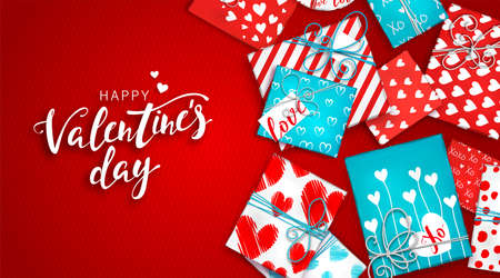Happy Valentines day banner with decoration. Red and blue gift boxes in wrapping paper with hearts on red background. Holiday greeting card, beautiful invitation, poster on celebration of day love Illustration