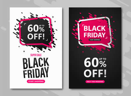 Black Friday sale flyers. Set od discount posters with speech bubble and lettering up to 60 percent off to advertising shopping, flyers, closeout on thanksgiving day and cyber monday